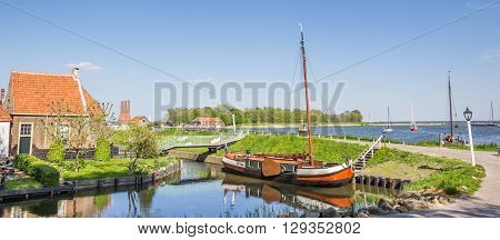 Panorama of a sailing ship at a dike in Enkhuizen Netherlands