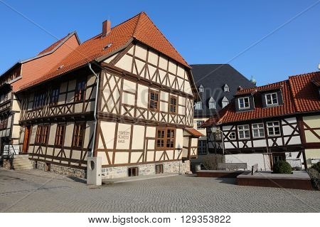 Wernigerode, Germany April 09, 2016: Museum Crooked House in downtown Wernigerode in Saxony-Anhalt