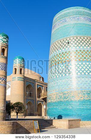 Khiva Uzbekistan - Aprilr 15 2014: The Kalta Minor minaret at Muhammad Amin Khan Madrassah