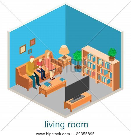 Isometric Interior Of A Living Room