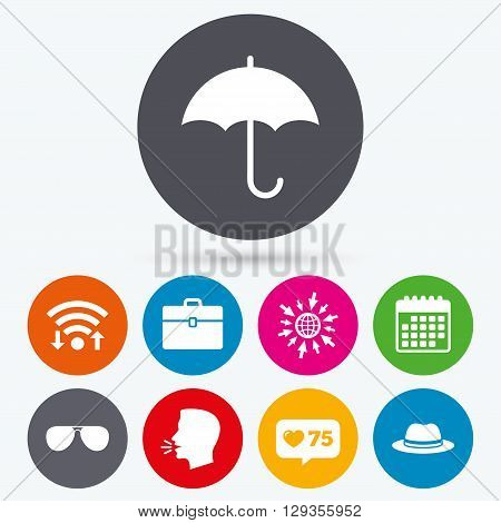 Wifi, like counter and calendar icons. Clothing accessories icons. Umbrella and sunglasses signs. Headdress hat with business case symbols. Human talk, go to web.
