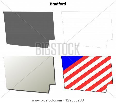 Bradford County, Pennsylvania blank outline map set