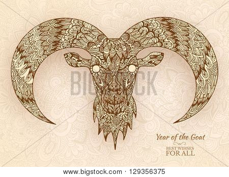 Hand Drawn New Year 2015 Of Goat Background Ornament Illustratio