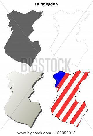 Huntingdon County, Pennsylvania blank outline map set