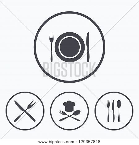 Plate dish with forks and knifes icons. Chief hat sign. Crosswise cutlery symbol. Dining etiquette. Icons in circles.