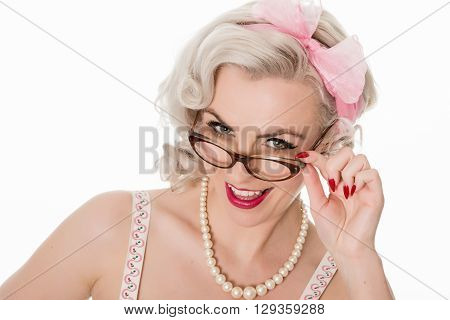 Smiling Pretty Girl Wearing Spectacles, Isolated On White