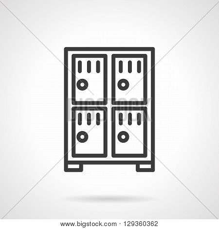 Cabinet with four compartments. Lockers at stations and airports, markets, safe storage of money and valuables in a bank. Simple black line vector icon. Single element for web design, mobile app.