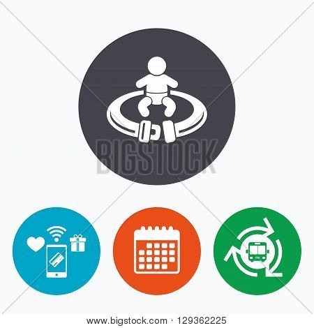 Fasten seat belt sign icon. Child safety in accident. Mobile payments, calendar and wifi icons. Bus shuttle.