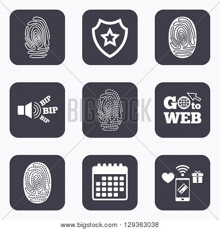 Mobile payments, wifi and calendar icons. Fingerprint icons. Identification or authentication symbols. Biometric human dabs signs. Go to web symbol.