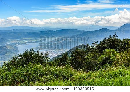View from hilltop near Antigua of Lake Amatitlan near Guatemala City.