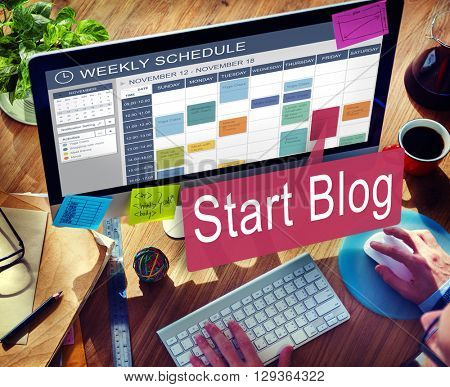 Start Blog Blogging Social Media Online Concept poster