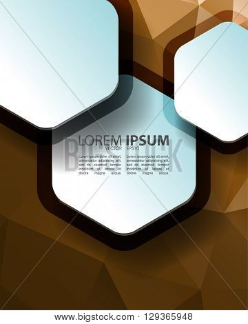 eps10 vector polygon elements hexagon frame abstract background material design