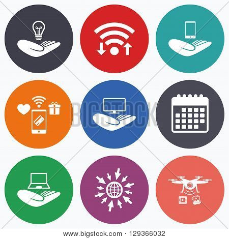 Wifi, mobile payments and drones icons. Helping hands icons. Intellectual property insurance symbol. Smartphone, TV monitor and pc notebook sign. Device protection. Calendar symbol.