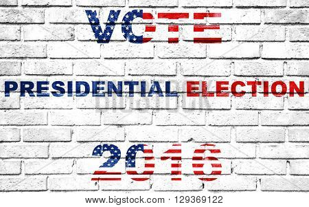 Usa Vote Election For 2016 Written On White Wall Background