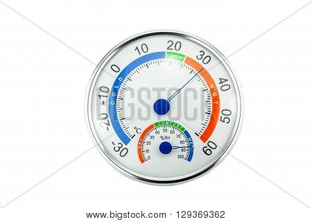 Measure humidity and temperature on a white background.