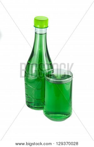 water bottles and glass chlorophyll isolated on white background