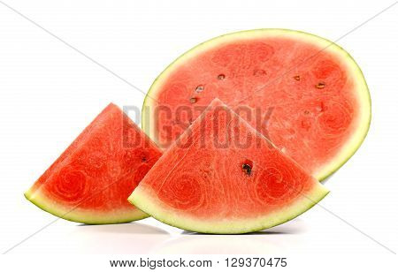 Watermelon slices with bite marksFruit for summer isolated on white background.