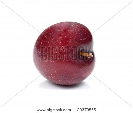 Red Ripe plum isolated on white background.