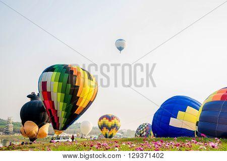 CHIANG RAI, THAILAND - FEBRUARY 11, 2016 : Hot air balloon in the sky at SINGHA PARK CHIANG RAI BALLOON FIESTA 2016 , Chiang rai province, Thailand