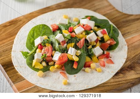 Vegan Tofu Wraps With Pepper, Corn, Tomatoes And Spinach