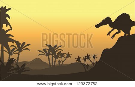 spinosaurus in hills scenery at the sunrise