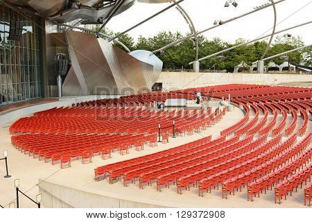 CHICAGO, ILLINOIS - AUGUST 22, 2015: Pritzker Pavilion seating. In Chicago's Millennium Park, includes 4,000 fixed seats and is home to the the Grant Park Symphony Orchestra and Chorus.