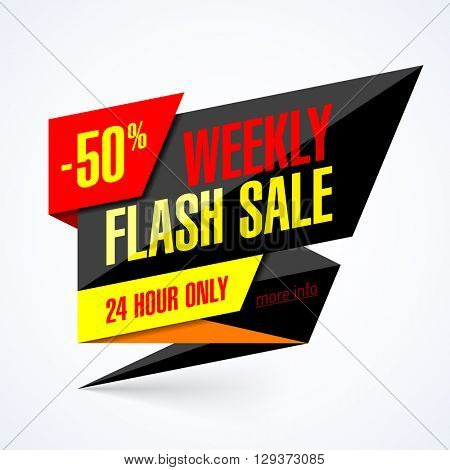 Flash Sale banner. 24 hour only special offer, up to 50% off.