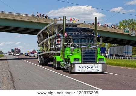 LANCASTER PENNSYLVANIA - MAY 8 2016: Make-A-Wish Foundation sets a new Guinness World Record for the largest truck convoy with 590 trucks. On the Mother's Day annual fundraiser truckers grant a Lancaster County wish ride to children with life-threatening