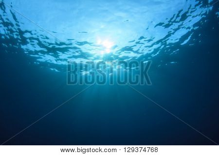 Underwater ocean background with sun in sea