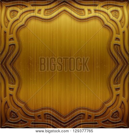 Metal background. Carved gold metal plate. Luxury and rich metal design. Retro metal plate