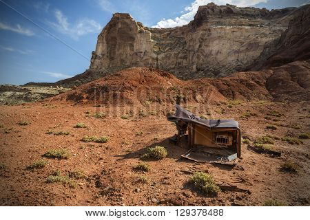 Discarded refridgerator at Reds Canyon in the San Rafael Swell near Greenriver Utah.