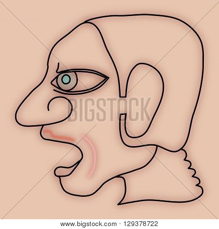 Expressive face profile of human head - simple stylized digitally drawing with strong lines and blur - a person with an open mouth agape or screaming or singing