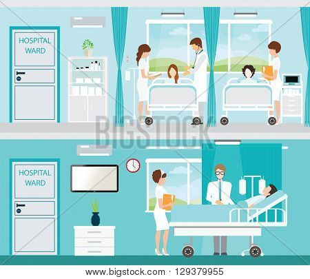 Doctor and patient in Hospital room with beds and comfortable medical equipped in a modern hospital interior vector illustration.