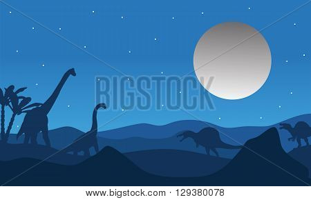 Silhouette of dinosaur with moon at the night