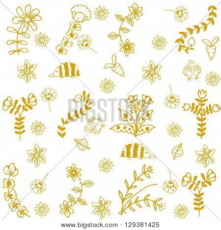 Flower and insect yellow doodle art with white backgrounds