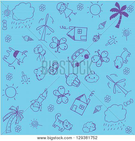 Blue of doodle design for kids a funny