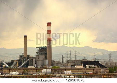 Old Coal Power Plant with Smokestack Not Running