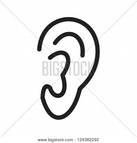 Ear, listening, sensory icon vector image. Can also be used for human anatomy. Suitable for mobile apps, web apps and print media.