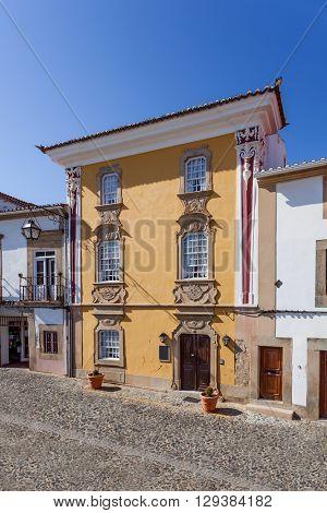 The Magessi House, also known as Yellow House, a small hotel in Castelo de Vide. Portalegre, Alto Alentejo, Portugal