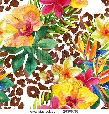 Tropical watercolor flowers leaves on animal print. Colorful exotic flowers on animal skin texture. Tropic seamless pattern on white background. Hand painted watercolor illustration for summer design