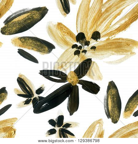 Abstract watercolor golden and black flowers seamless pattern. Abstract floral elements (painted by dry brush strokes ) background in boho style. Hand painted illustration on white background