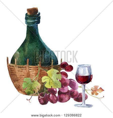 Bottle of wine wineglass and bunch of grapes. Hand painted illustration
