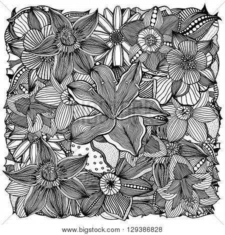 Ethnic floral art doodle background pattern circle in vector. Henna paisley mehndi doodles design tribal design element. Black and white pattern for coloring book for adults and kids.