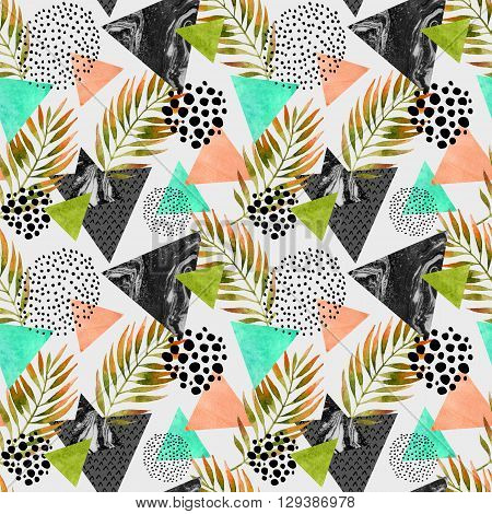 Abstract summer geometric seamless pattern. Triangles with palm leaf and marble grunge textures. Abstract geometric background in retro vintage 80s 90s pop art. Hand drawn summer natural illustration poster
