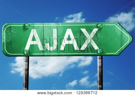 Ajax, 3D rendering, a vintage green direction sign