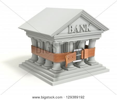 Bank 3d icon with tighten belt - 3d illustration of banking crisis concept