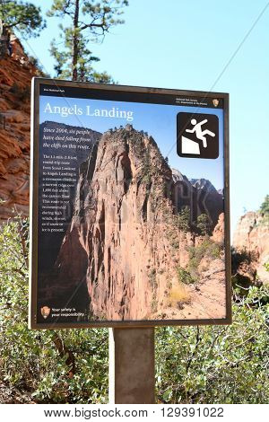 ZION, UTAH - AUGUST 16, 2015: Angels Landing Sign at Scout Lookout. The strenuous trail is a popular hiking / climbing adventure in Zion National Park.