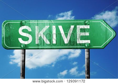 Skive, 3D rendering, a vintage green direction sign