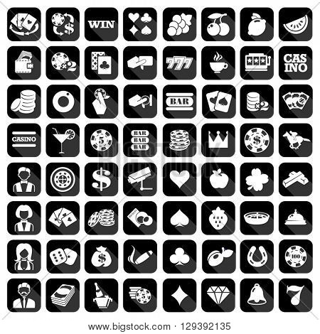 The big set of flat monochrome casino icons. Slot machine or slots signs
