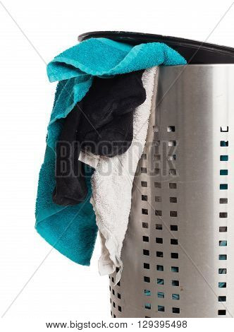 Dirty Laundry In A Metal Basket